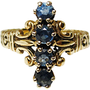 Antique Victorian 14K Gold Blue Spinel Ring 6.5