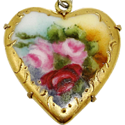 SALE PENDING Antique Victorian Roses on Porcelain Heart Pendant Limoges Style