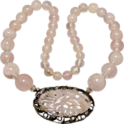 Art Deco Sterling Silver Carved Rose Quartz Gemstone Necklace 1920