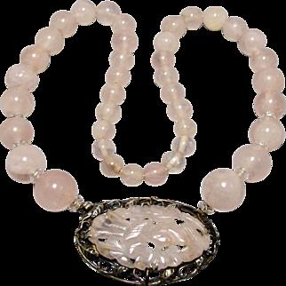 Art Deco Sterling Silver Carved Rose Quartz Gemstone Necklace 1920