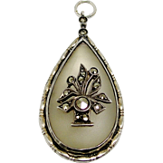 SALE PENDING Art Deco Camphor Glass Pendant German Sterling Silver Marcasites Marked Germany