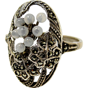 Art Deco Germany Sterling Silver Marcasite Ring Glass Grapes Size 7.5