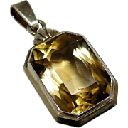 Art Deco Citrine Quartz Gemstone Pendant European 835 Silver