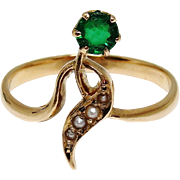 Art Nouveau Russian 14K Gold Ring 1908-1917 Belle Epoque Green Stone Seed Pearls Rare Markings