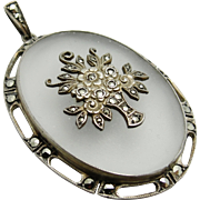 Edwardian Art Deco Rock Crystal Quartz Sterling Silver Marcasite Flower Basket Pendant