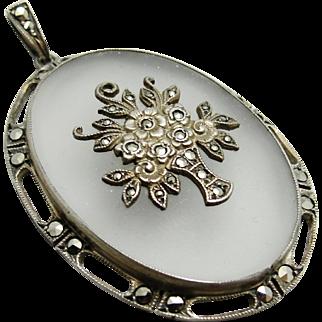 Edwardian Art Deco Rock Crystal Quartz Sterling Silver Marcasite Flower Basket Pendant