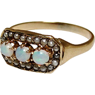 Victorian 10K Gold Opal Seed Pearl Ring Size 5.25