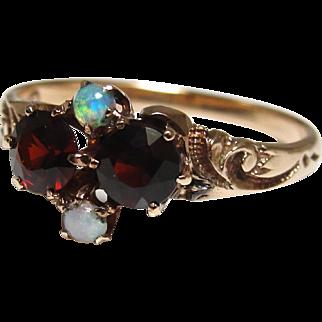 Victorian 14K Gold Almandine Garnet Opal Ring Size 6