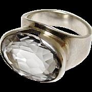 European Modernist Rock Crystal Ring 800 Silver Size 7.5 Genuine Clear Quartz Gemstone