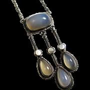 Edwardian Chalcedony Gemstone Necklace Sterling Silver MOP European Arts & Crafts