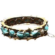Vintage Pauline Rader Clamper Bracelet with Turquoise Stones