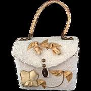 Vintage Midas of Miami Beaded Wicker Handbag with Floral Decorations