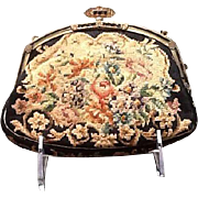 VIntage Needlepoint Purse with Enameled and Jeweled Frame---French Bag Shop