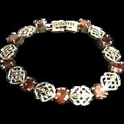 VIntage Sterling Silver Bracelet with Garnet Stones