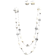 VIntage Demi Parure by Schiaparelli:  Pearl Necklace and Earrings