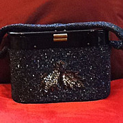 SOLD Vintage Oblong Beaded Purse with Lucite Lid and Beaded Decal