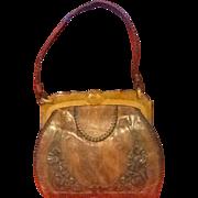SALE Vintage Tooled Leather Purse with Bakelite Frame