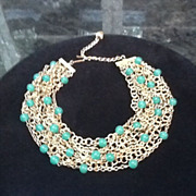 Vintage Multi Strand Goldtone Necklace/Torsade  with Green Cabochons