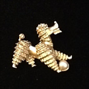 Vintage BOucher Poodle Pin with Faux Pearl