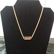 SALE VIntage Lanvin Necklace with Enameled Logo