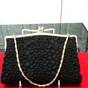 SALE VIntage Black Beaded Evening Purse with Unique Design