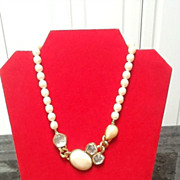 SALE Vintage YSL Faux Pearl Necklace with Ornamentation