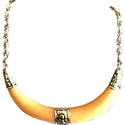 Vintage Crown Trifari Lucite Choker Necklace with Goldtone Accents