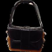 SOLD VIntage RARE Leather Handbag with Bakelite Accordion Frame