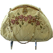 SOLD ***MINT***Vintage Revivals Silk Purse with Appliqués and Faux Pearl Frame