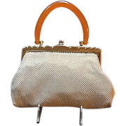 Vintage Whiting and Davis Mesh Bag with Lucite Handle