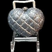 SALE Vintage Baumann Jeweled Heart Miniaudiere