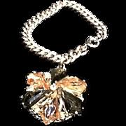 SALE Vintage Schiaparelli Silvertone Bracelet with Huge Jeweled Charm