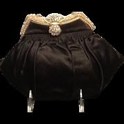 SALE Vintage French Silk Evening Bag with Ornate Frame