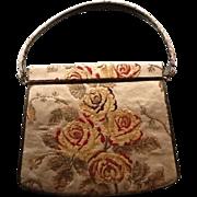 SALE Vintage Nettie Rosenstein Tapestry Kelly Purse with Leather Trim