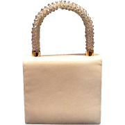 Vintage Koret White Leather Purse with Jeweled Handle
