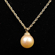 SALE 8 mm Cream Pearl Set with 14K White Gold Pendant on 15 inch 14K White Gold Chain