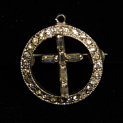 SALE Vintage 1930's White Pot Metal and Clear Paste Cross Pin or Pendant