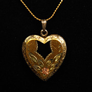 SALE Pretty Vintage Sterling Silver Gold Washed Heart Locket with Rose Gold Accents and Black