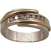 SALE Gent's 14K White and Yellow Gold and 1 cttw Diamond Ring size 10.5