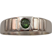 SALE Gent's 14K White Gold and .25 cttw Green Diamond Modern Design Ring size 12.5