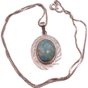 SALE Vintage Mexican Silver Larimar Look Pendant on 18 inch Box Chain Necklace
