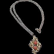 SALE Vintage Gold Filled and Pink Coral Necklace