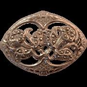 SALE Vintage Silver Marcasite Flower Brooch