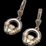 SALE Goldtone Leverback Claddagh Dangle Earrings
