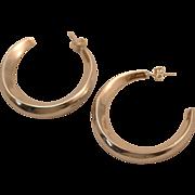 SALE Vintage 1970s Large Domed Graduated Hoop Earrings