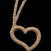 SALE Classy Faux Diamond Open Heart Pendant Necklace