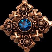 SALE Vintage 950 Silver Crusaders Cross with Royal Blue Paste Gem Pin Pendant