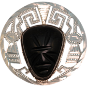 SALE Vintage Sterling Silver and Carved Black Obsidian Mexican Face Brooch or Pendant