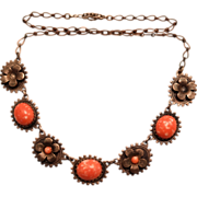 SALE 1920-30's Silvertone Faux Coral Station 16 3/8 inch Necklace