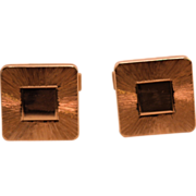 1950s or 60s 14K Yellow Gold Square Cuff Links in Original Box